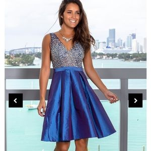 Dresses & Skirts - Blue jeweled cocktail homecoming prom formal dress